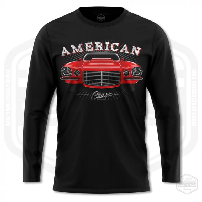1970 chevrolet camaro classic mens long sleeve shirt black with red front print product