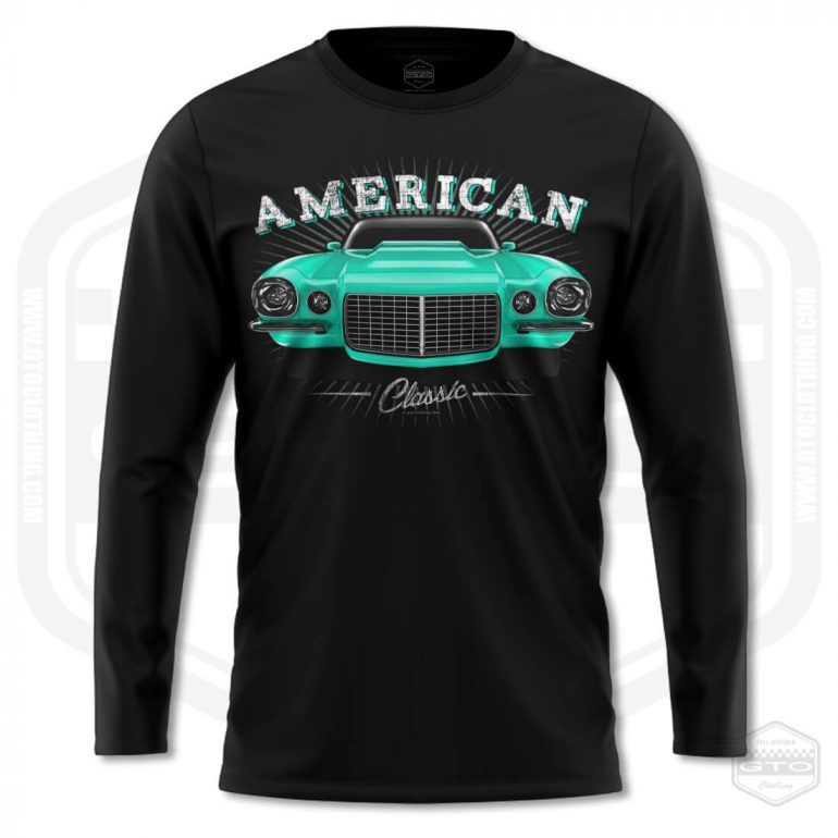 1970 chevrolet camaro classic mens long sleeve shirt black with turquoise front print product