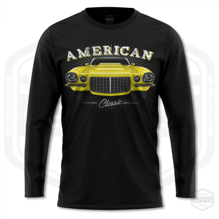 1970 chevrolet camaro classic mens long sleeve shirt black with yellow front print product