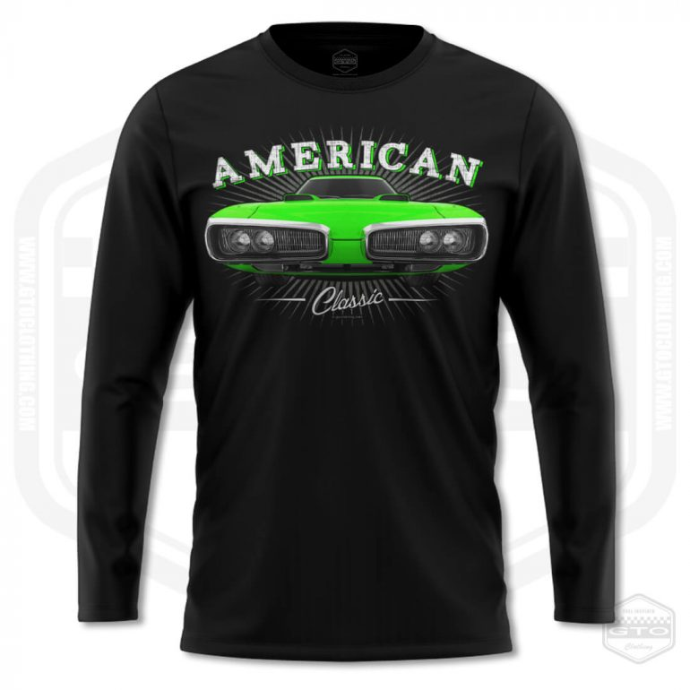 1970 dodge coronet classic mens long sleeve shirt black with green front print product