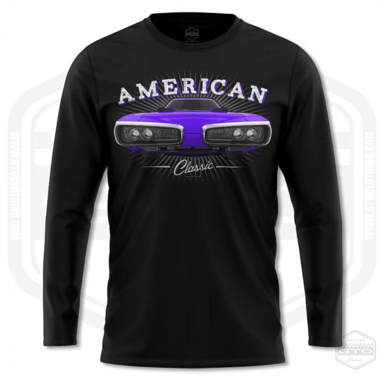 1970 dodge coronet classic mens long sleeve shirt black with purple front print product