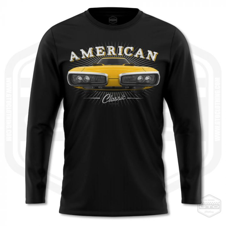 1970 dodge coronet classic mens long sleeve shirt black with yellow front print product