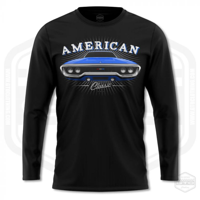 1971 plymouth sattelite classic mens long sleeve shirt black with blue front print product