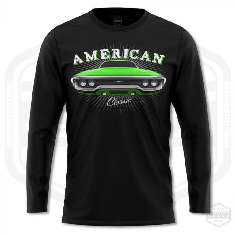 1971 plymouth sattelite classic mens long sleeve shirt black with green front print product
