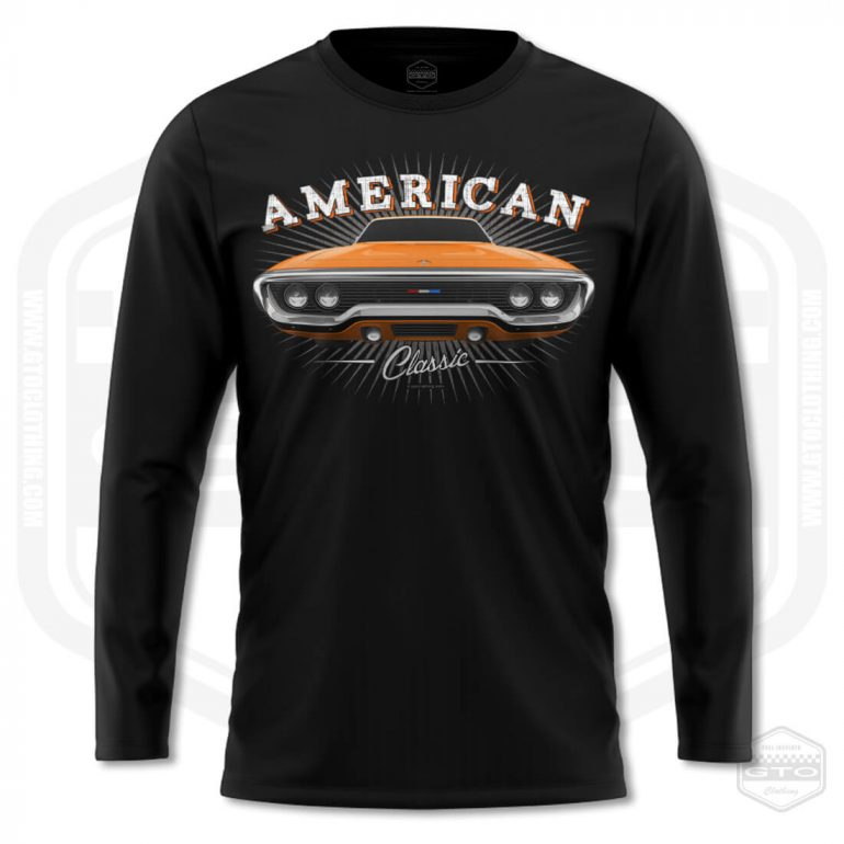1971 plymouth sattelite classic mens long sleeve shirt black with orange front print product
