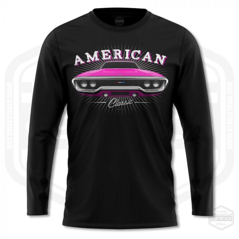 1971 plymouth sattelite classic mens long sleeve shirt black with pink front print product