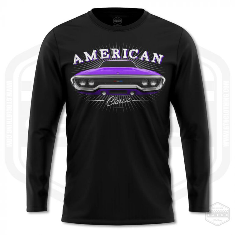 1971 plymouth sattelite classic mens long sleeve shirt black with purple front print product