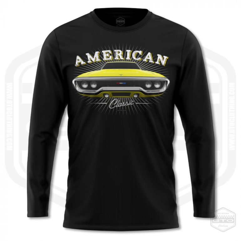 1971 plymouth sattelite classic mens long sleeve shirt black with yellow front print product