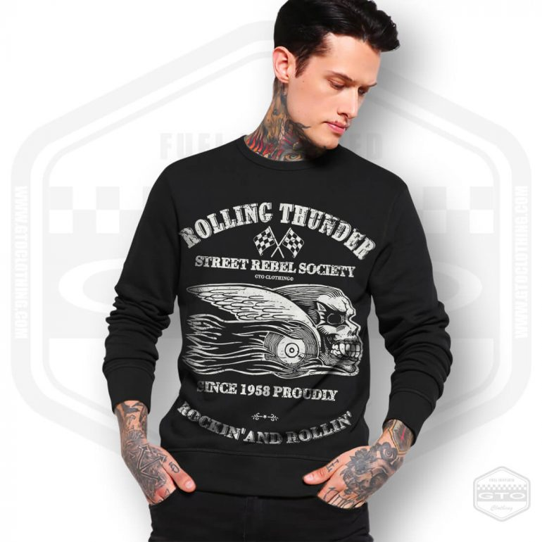 rollin thunder rockin and rollin mens sweatshirt black with white front print model1