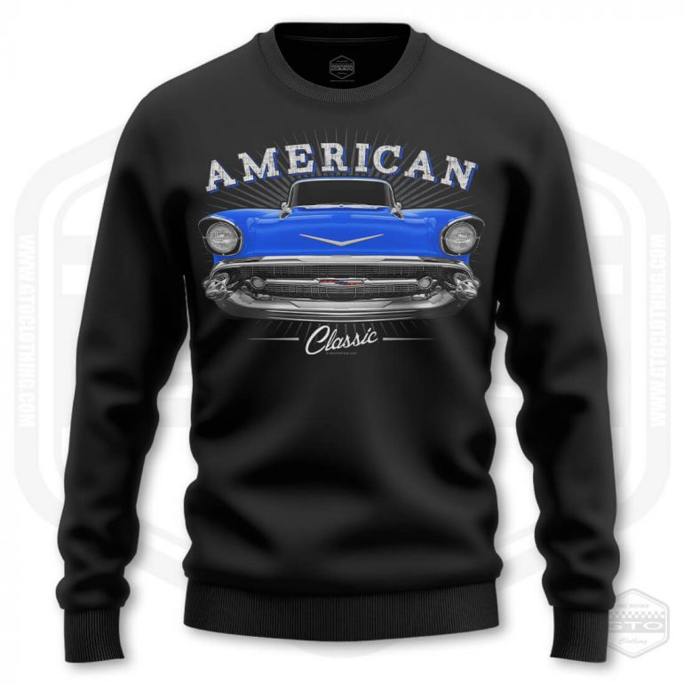 1957 chevrolet bel air classic mens sweatshirt black with blue front print product