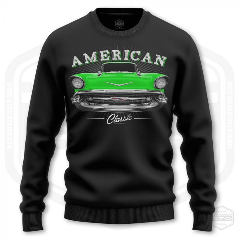1957 chevrolet bel air classic mens sweatshirt black with green front print product