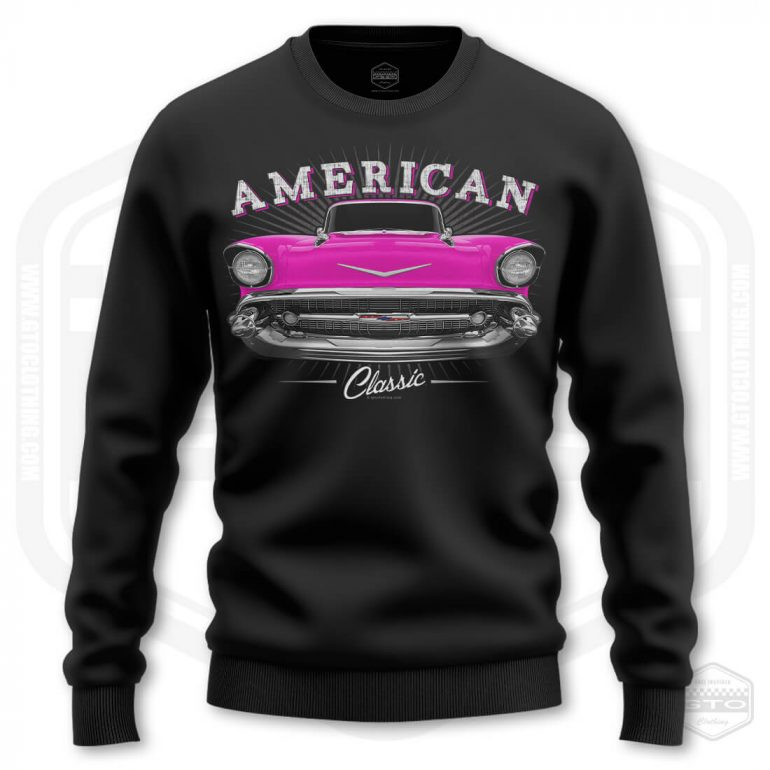 1957 chevrolet bel air classic mens sweatshirt black with pink front print product
