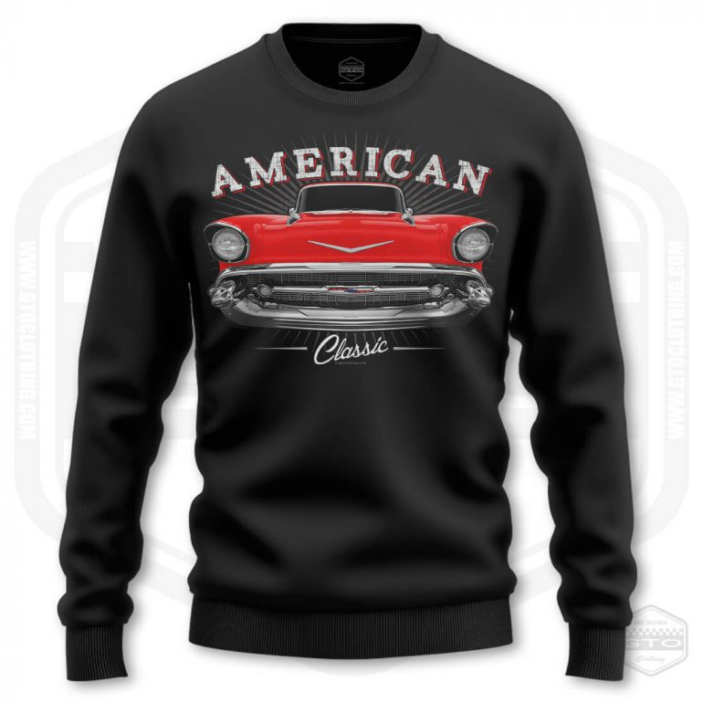 1957 chevrolet bel air classic mens sweatshirt black with red front print product