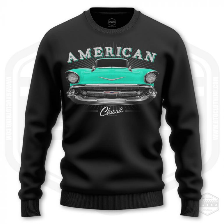 1957 chevrolet bel air classic mens sweatshirt black with turquoise front print product