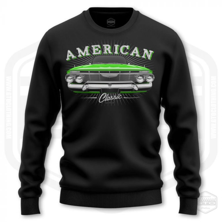1961 chevrolet impala classic mens sweatshirt black with green front print product