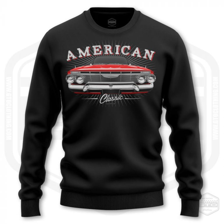 1961 chevrolet impala classic mens sweatshirt black with red front print product