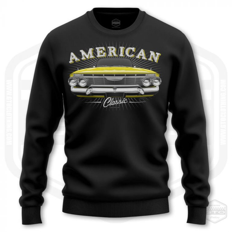 1961 chevrolet impala classic mens sweatshirt black with yellow front print product
