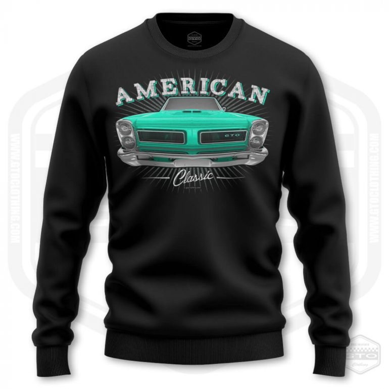 1965 pontiac gto classic mens sweatshirt black with turquoise front print product