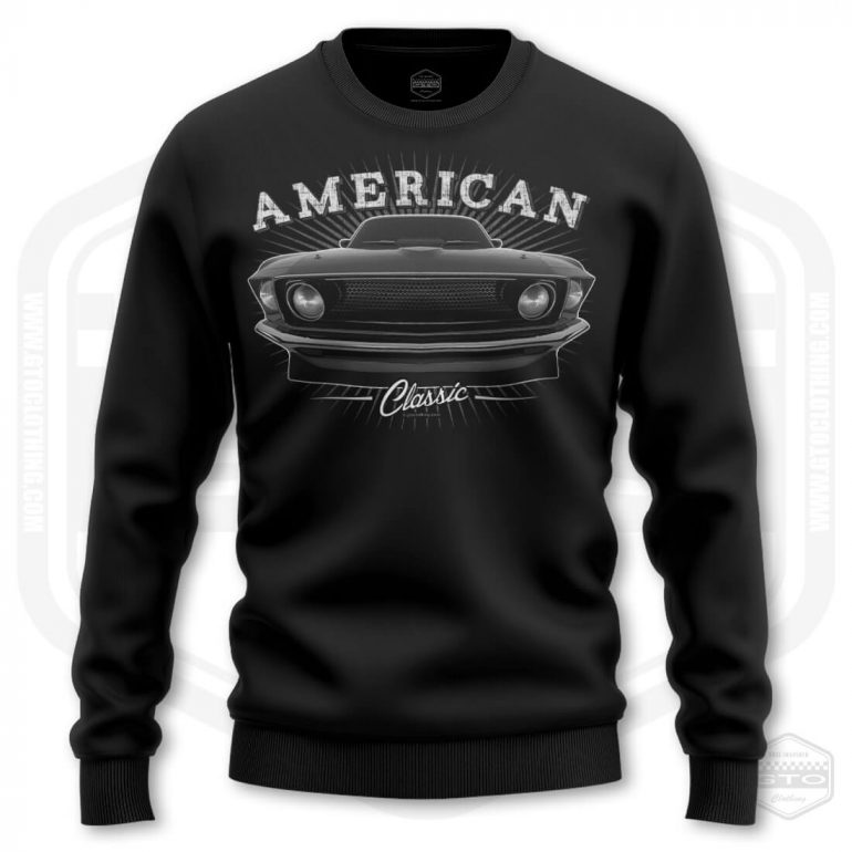 1969 ford mustang classic mens sweatshirt black with black front print product