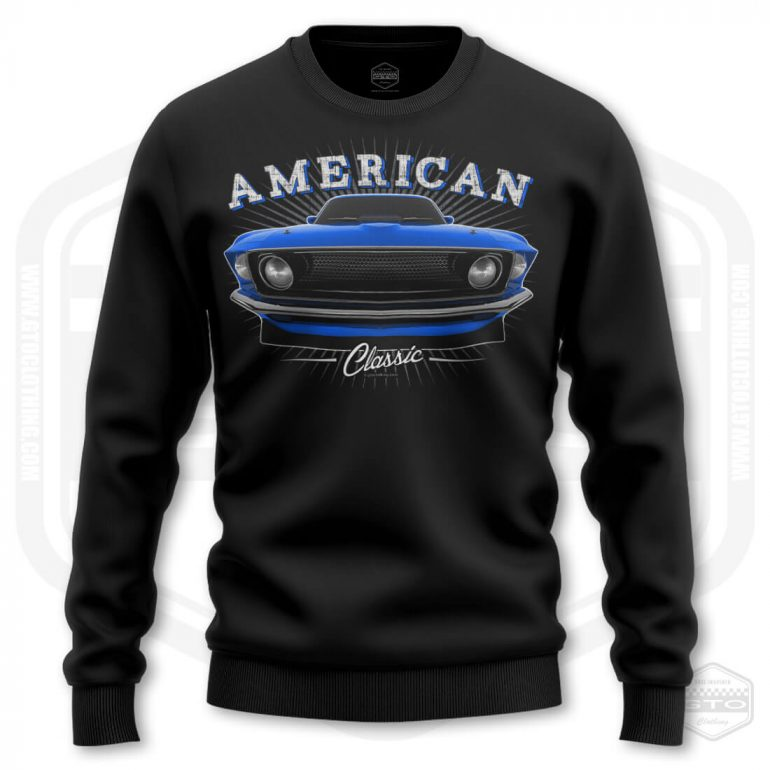 1969 ford mustang classic mens sweatshirt black with blue front print product