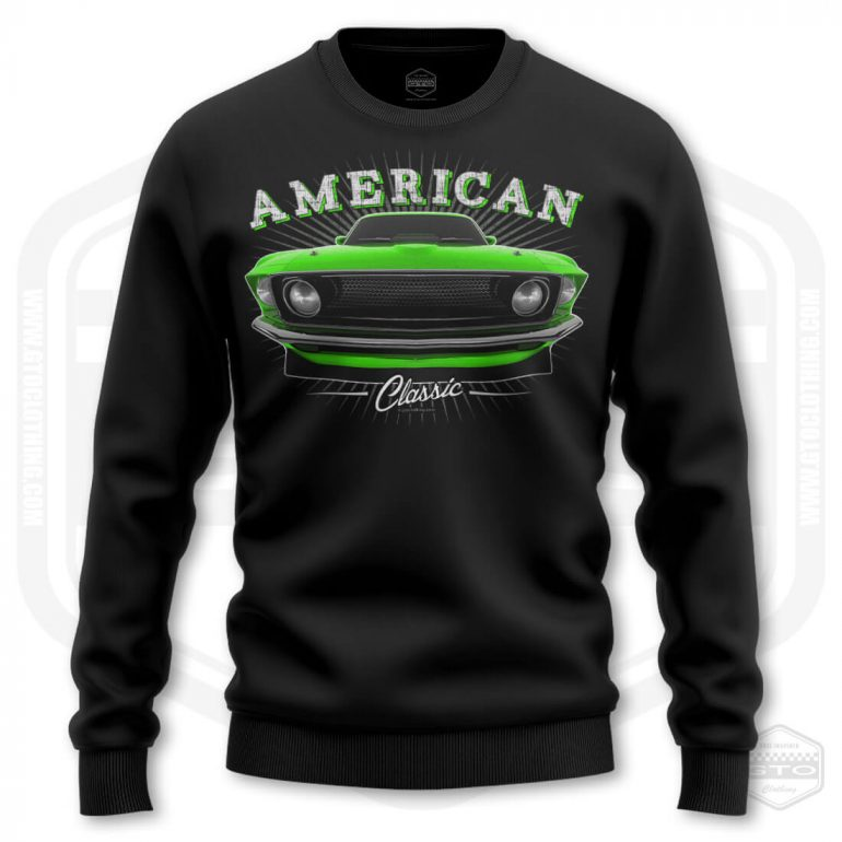 1969 ford mustang classic mens sweatshirt black with green front print product
