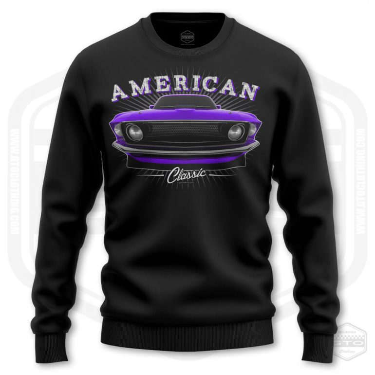 1969 ford mustang classic mens sweatshirt black with purple front print product