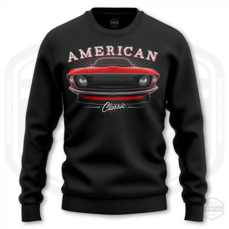 1969 ford mustang classic mens sweatshirt black with red front print product