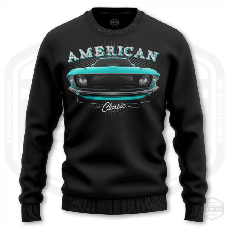 1969 ford mustang classic mens sweatshirt black with turquoise front print product