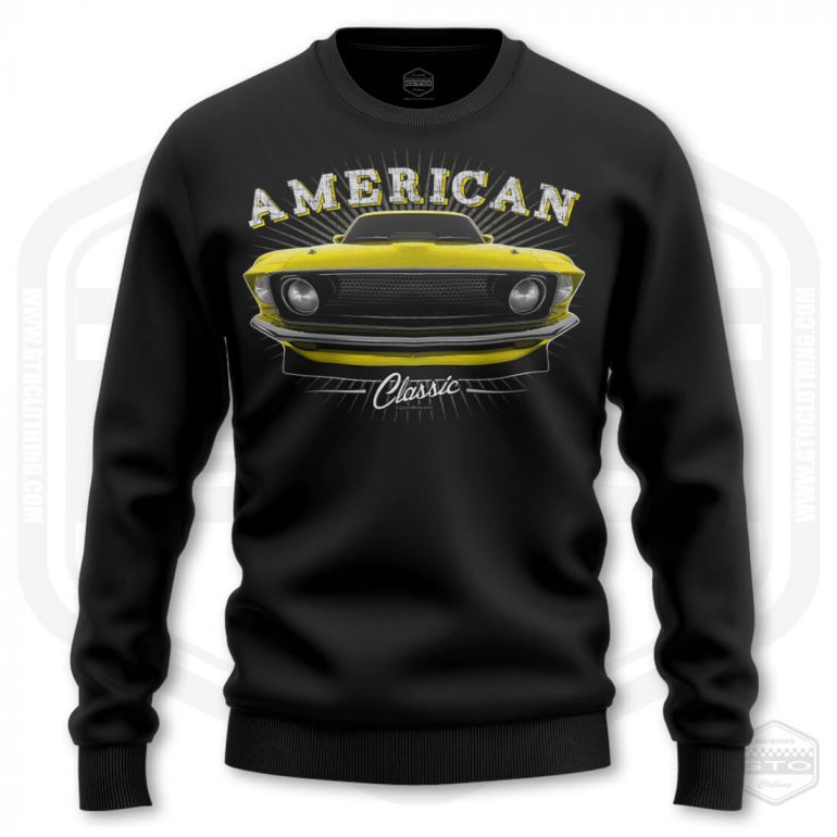 1969 ford mustang classic mens sweatshirt black with yellow front print product
