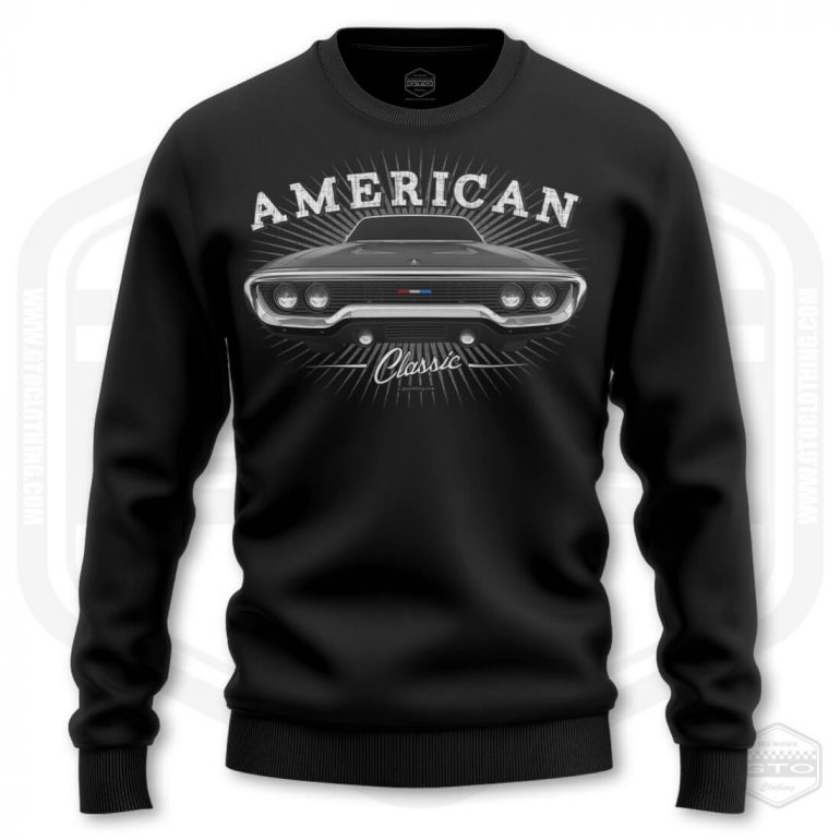 1971 plymouth sattelite classic mens sweatshirt black with black front print product