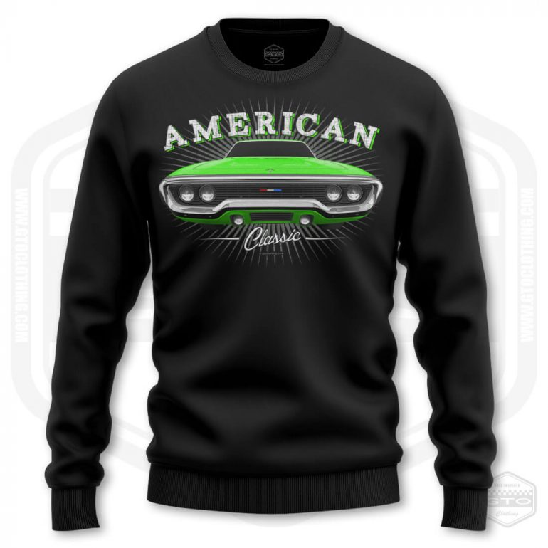 1971 plymouth sattelite classic mens sweatshirt black with green front print product
