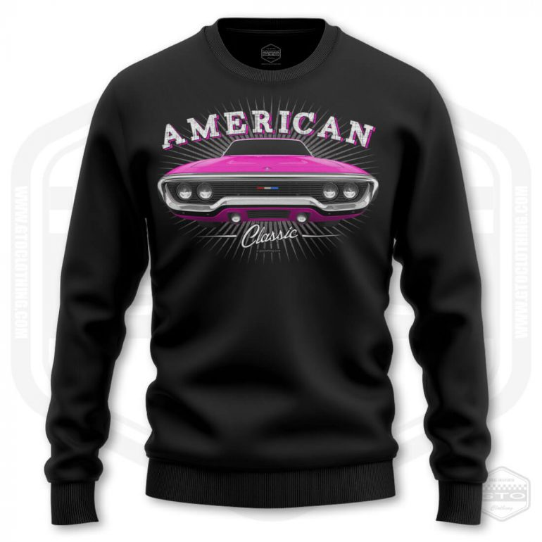1971 plymouth sattelite classic mens sweatshirt black with pink front print product