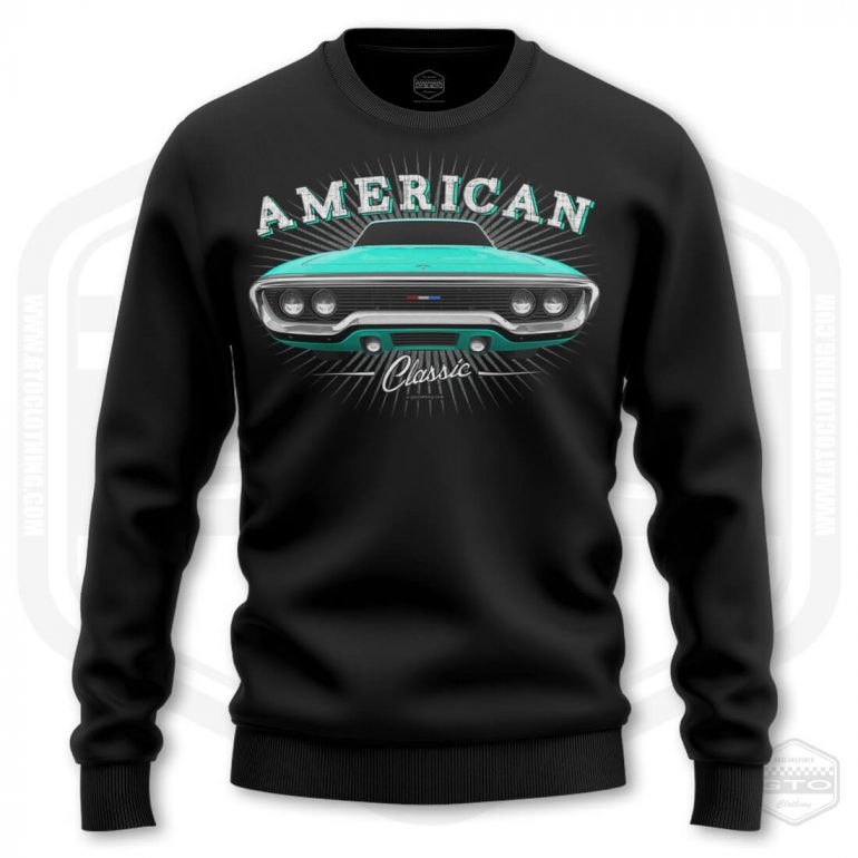 1971 plymouth sattelite classic mens sweatshirt black with turquoise front print product