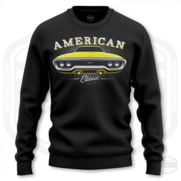 1971 plymouth sattelite classic mens sweatshirt black with yellow front print product