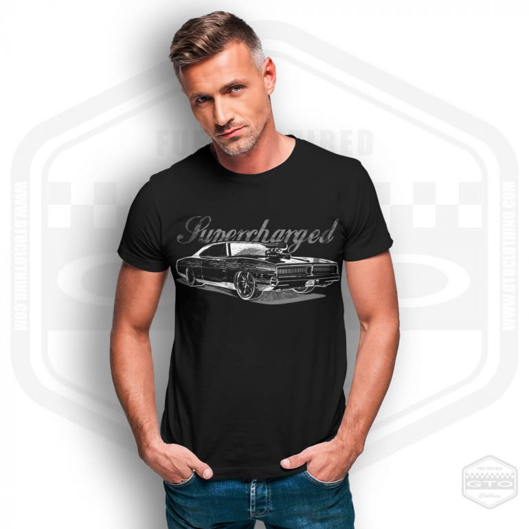 1969 dodge charger supercharged mens t shirt black with grey front print model11