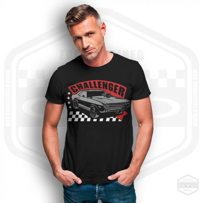 1971 dodge challenger rt mens t shirt black with red front print model11