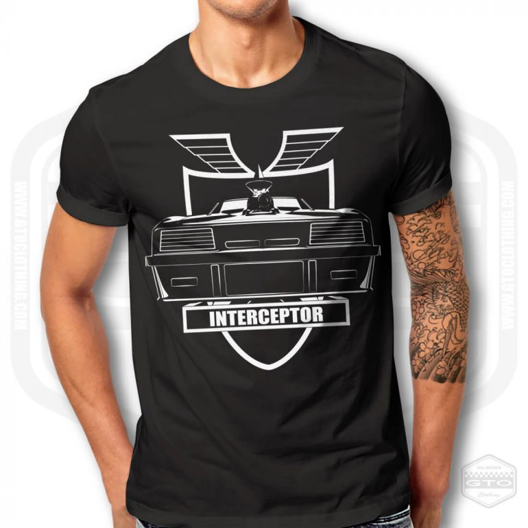 mad max interceptor and mfp badge mens t shirt black with white front print model1