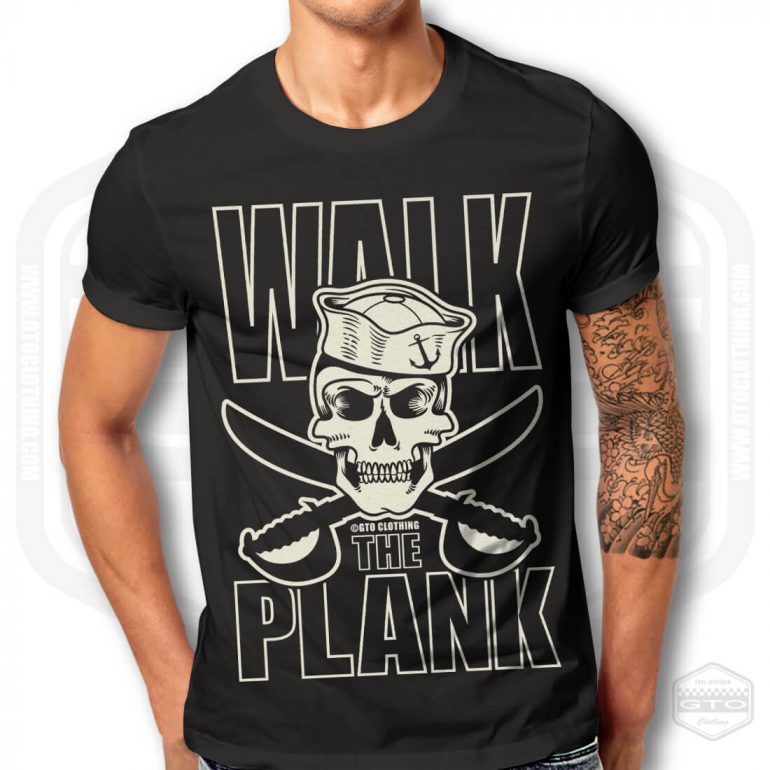 pirate walk the plank mens t shirt black with white front print model1