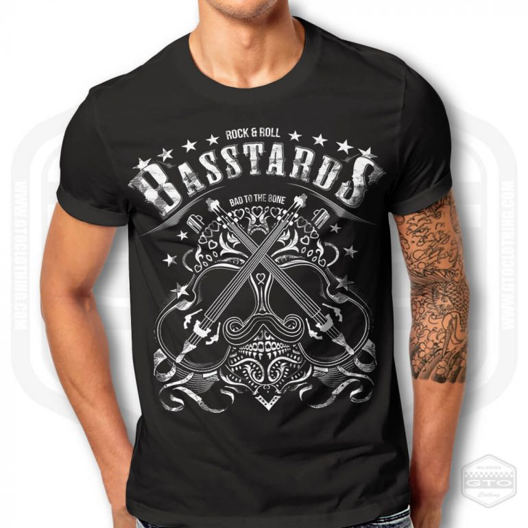 rock n roll basstards mens t shirt black with white front print model1