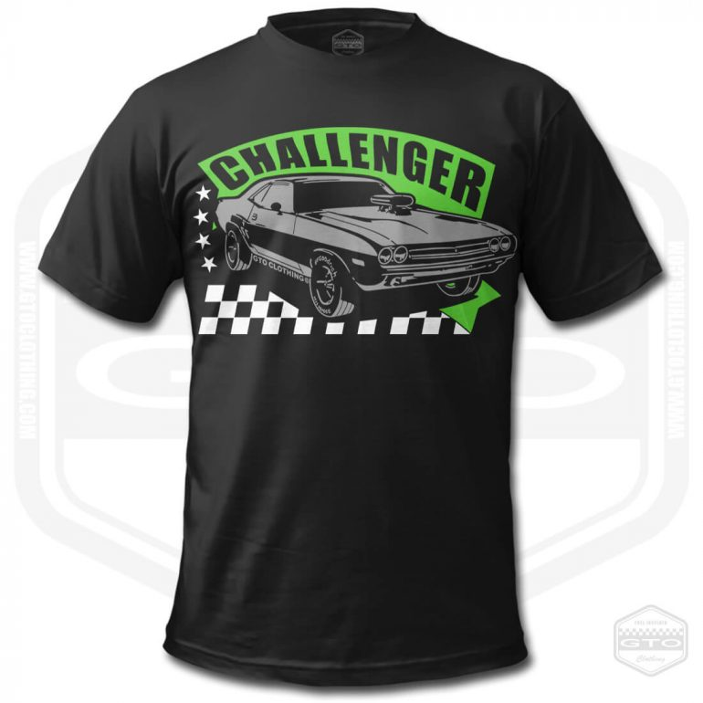 1971 dodge challenger rt mens t shirt black with green front print product