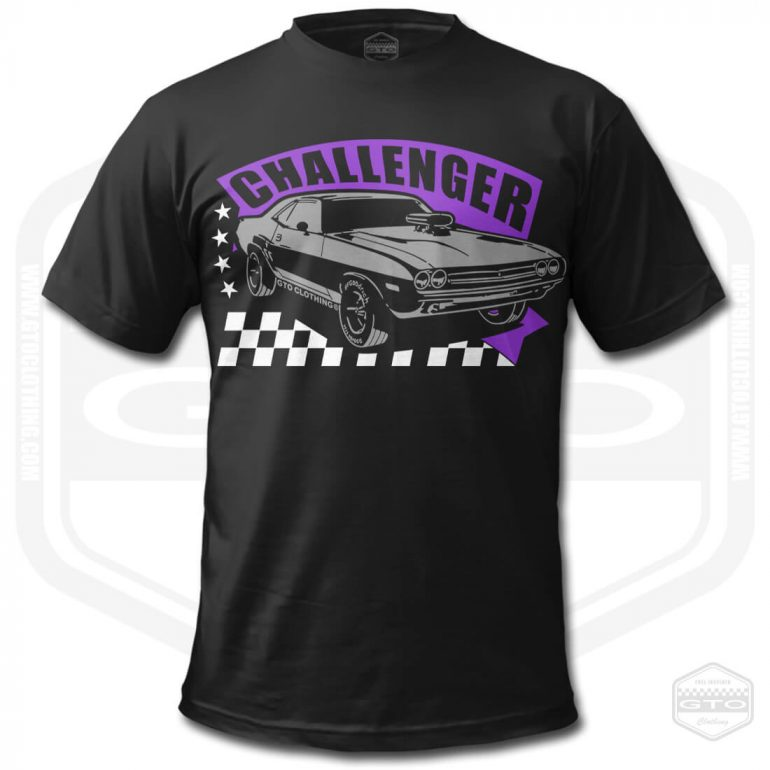 1971 dodge challenger rt mens t shirt black with purple front print product