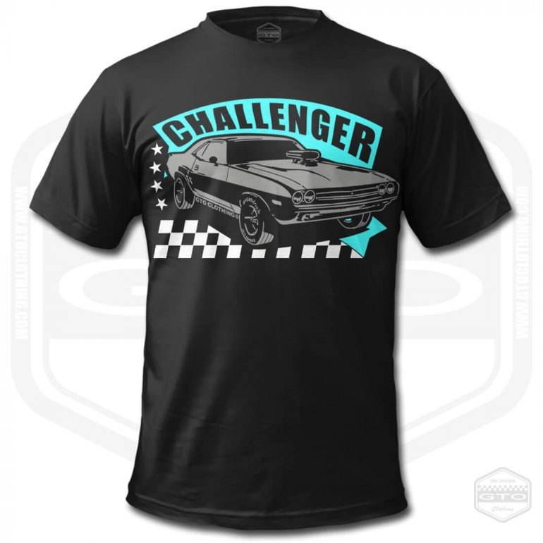 1971 dodge challenger rt mens t shirt black with turquoise front print product