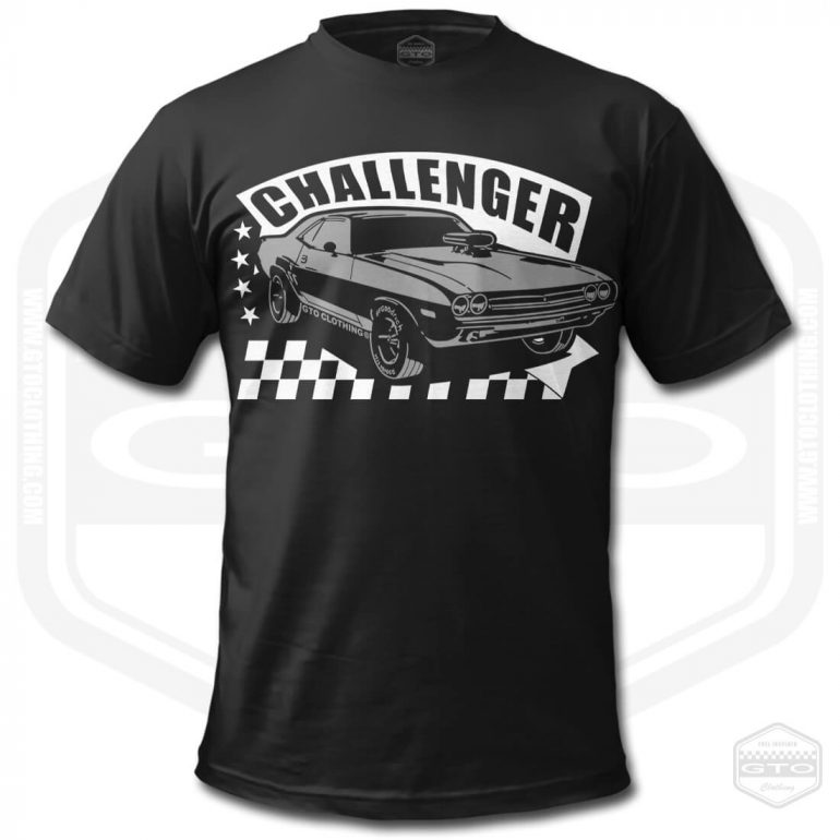 1971 dodge challenger rt mens t shirt black with white front print product