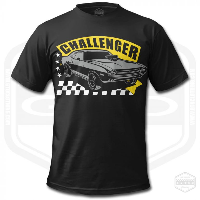1971 dodge challenger rt mens t shirt black with yellow front print product