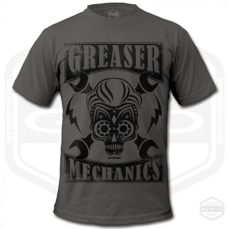 greaser mechanics mens t shirt charcoal with black front print product
