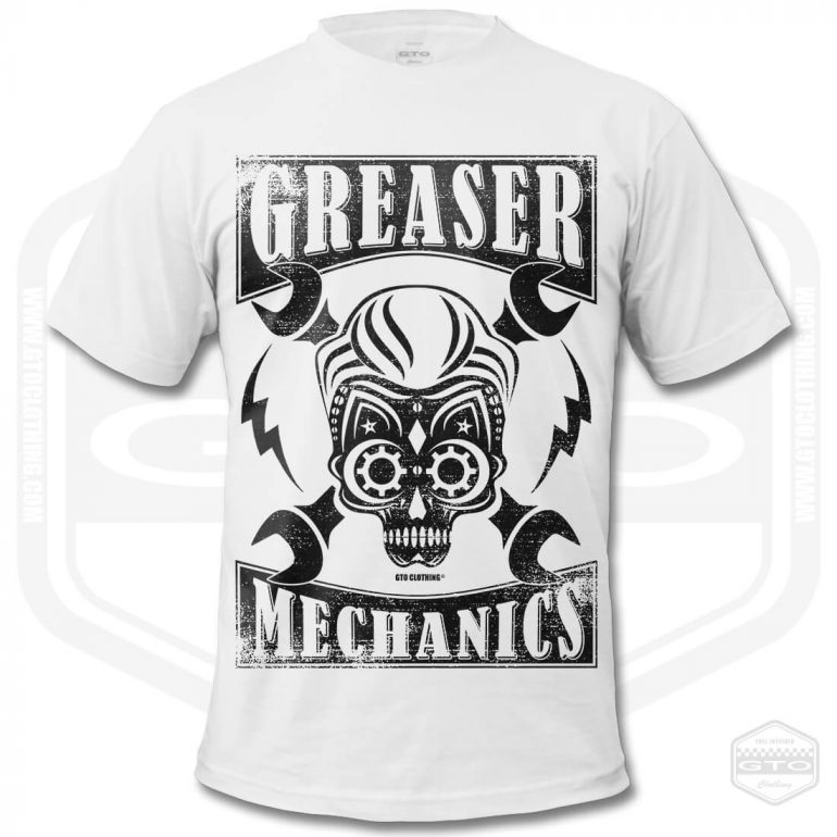 greaser mechanics mens t shirt white with black front print product