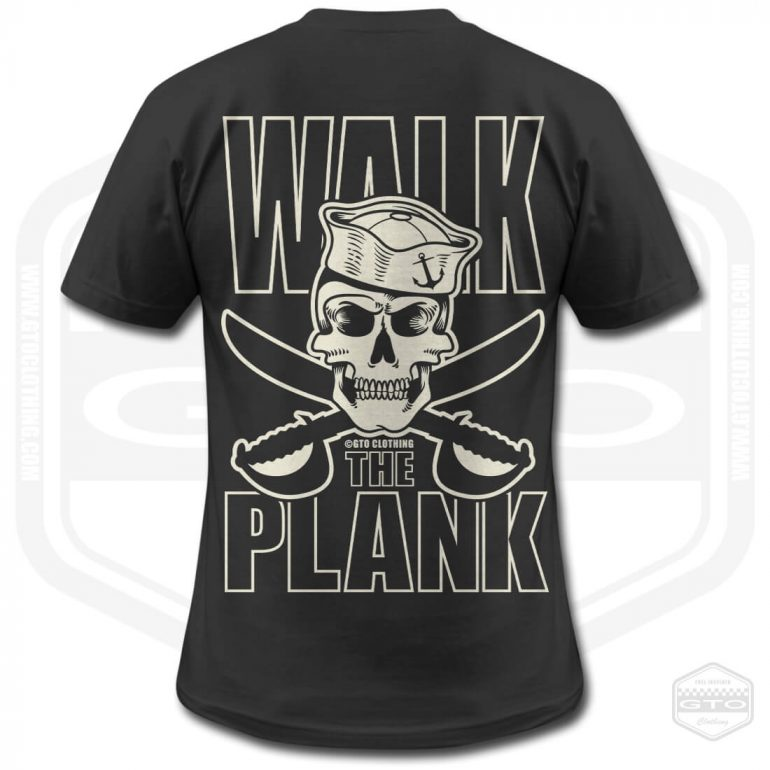 pirate walk the plank mens t shirt black with white back print product