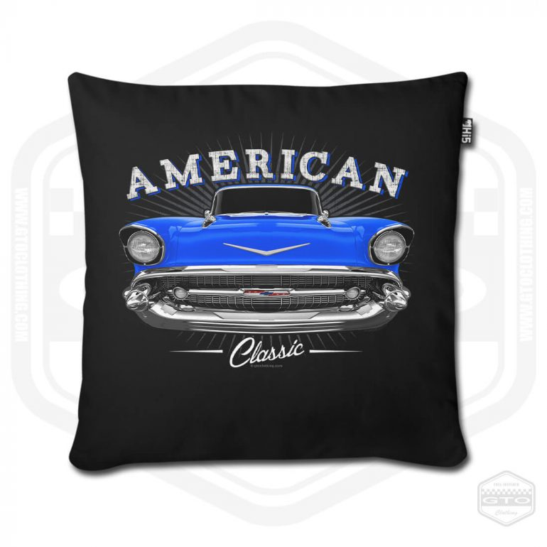 1957 chevrolet bel air classic pillow cover black with blue front print product