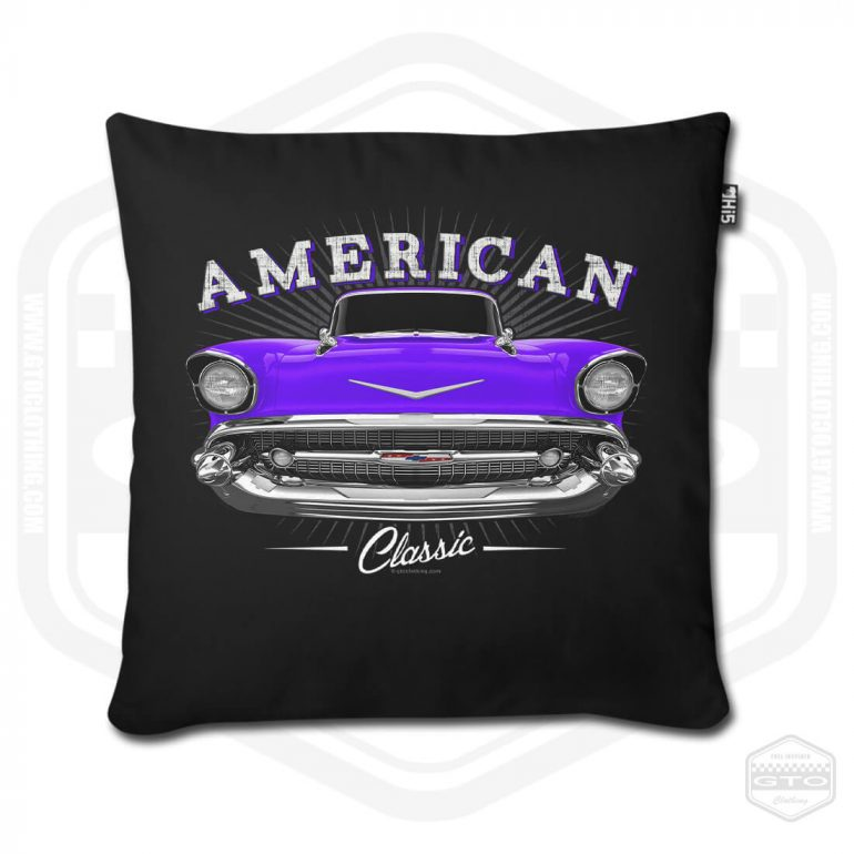 1957 chevrolet bel air classic pillow cover black with purple front print product