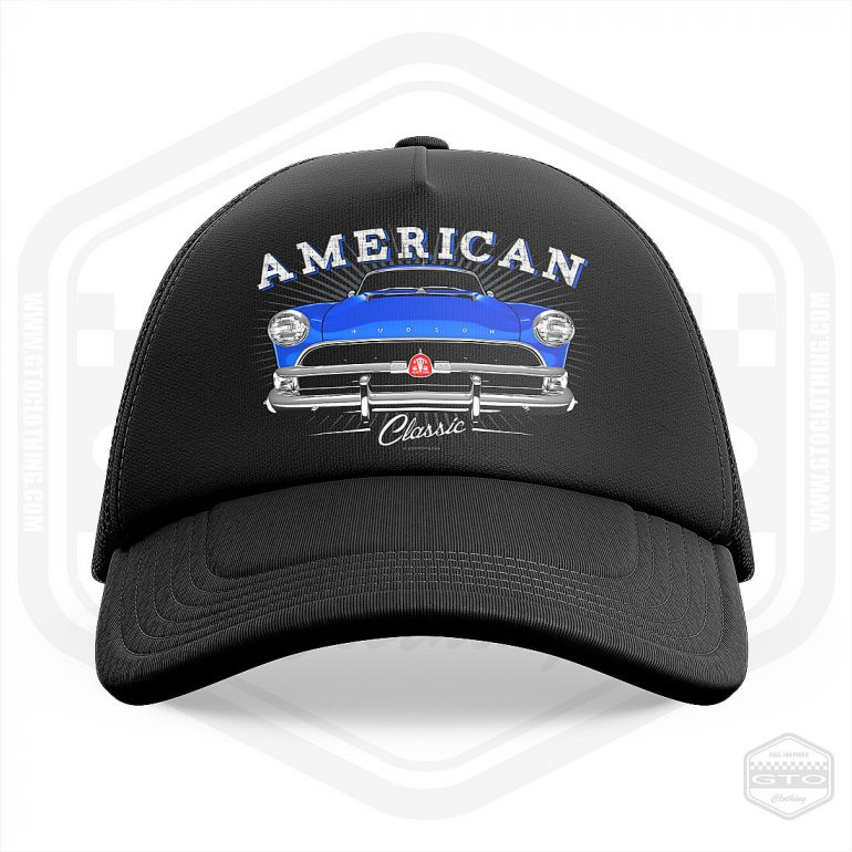 1954 hudson hornet classic trucker cap black with blue front print product